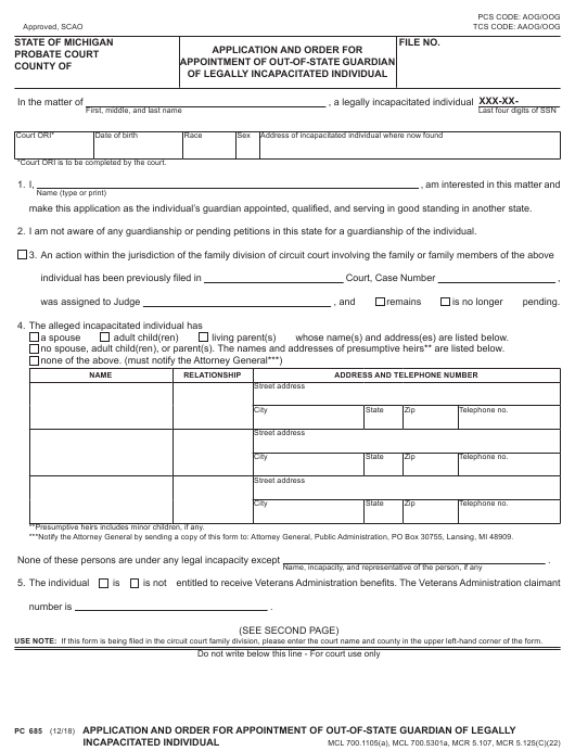 Form PC 685 Download Fillable PDF, Application and Order for