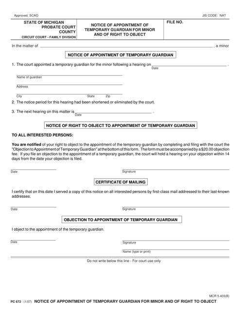 Form PC672  Printable Pdf