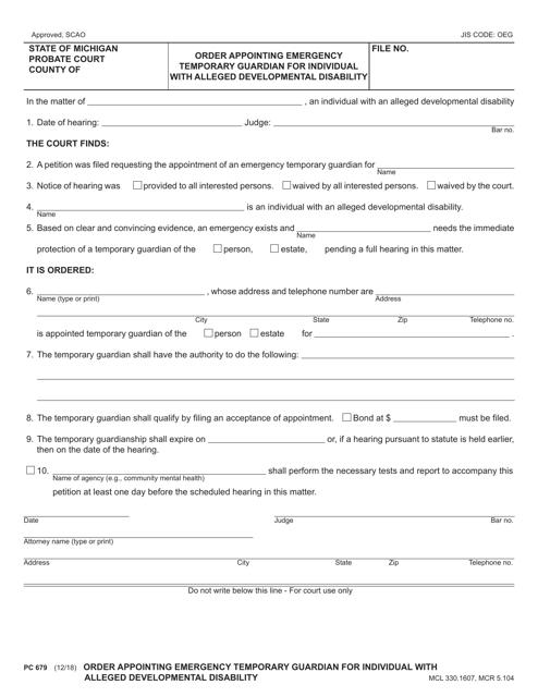 Form PC679  Printable Pdf