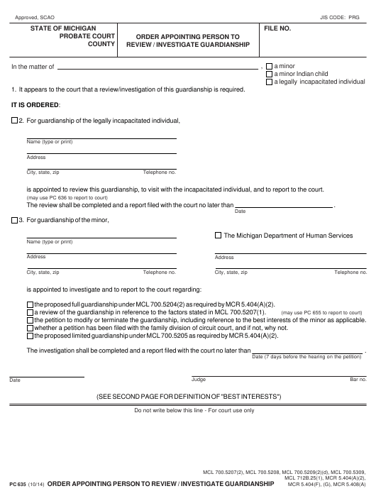 Form PC635  Printable Pdf