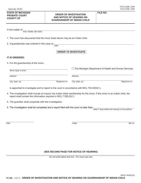 Form PC688 Printable Pdf