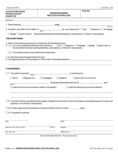 Form PC647  Printable Pdf