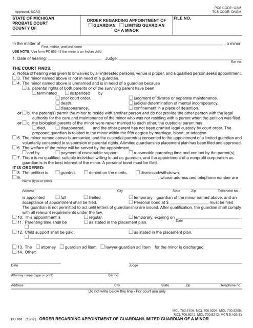 Form PC653  Printable Pdf