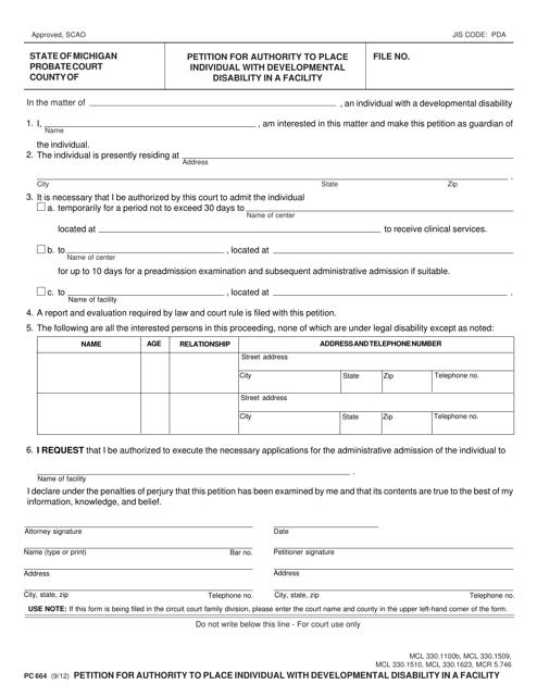 Form PC664  Printable Pdf