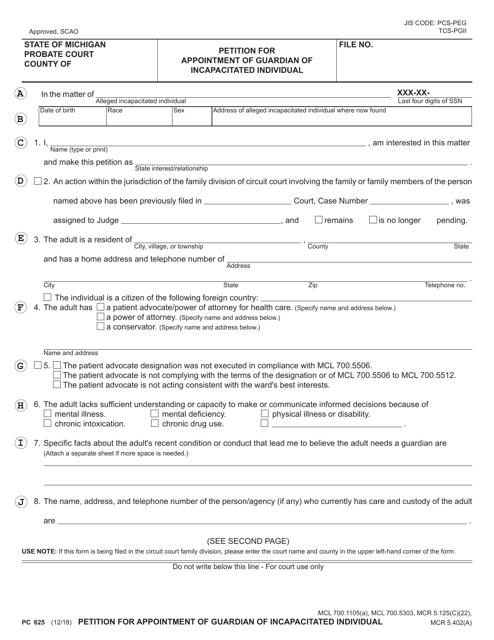 Form PC625  Printable Pdf