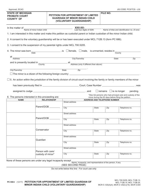 Form PC650-I  Printable Pdf