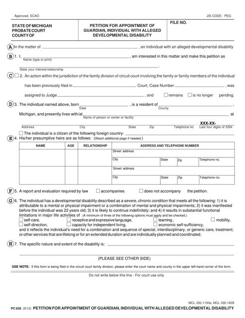 Form PC658  Printable Pdf