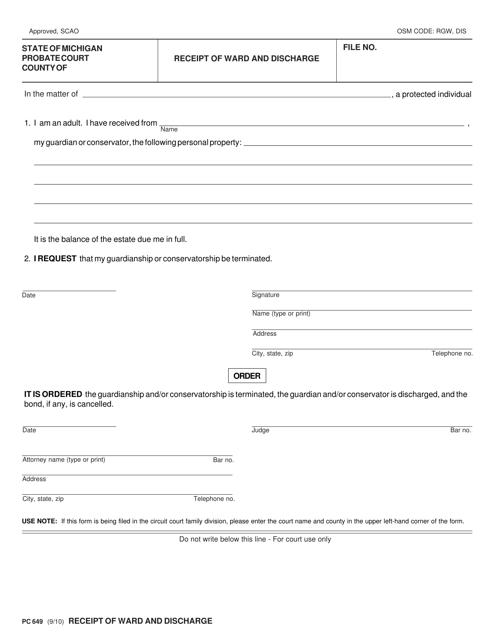 Form PC649  Printable Pdf