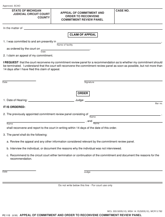 Form PC113  Printable Pdf