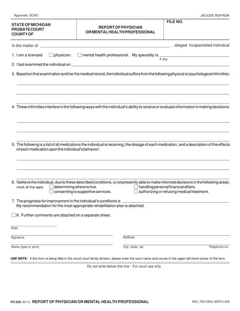 Form PC630  Printable Pdf
