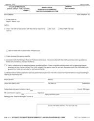 "Form JC82 ""Affidavit of Service Performed by Lawyer-Guardian Ad Litem"" - Michigan"