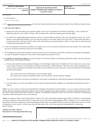 Form JC 44 Advice of Rights After Order Terminating Parental Rights (Juvenile Code) - Michigan