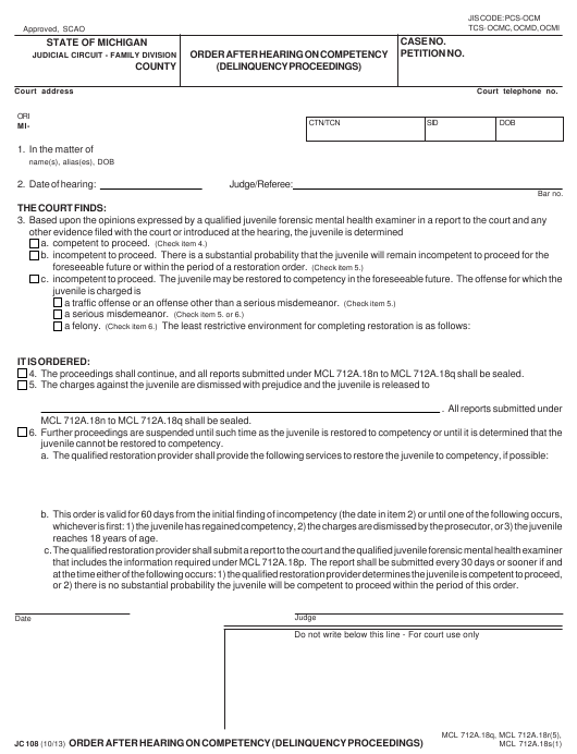 Form JC108 Printable Pdf