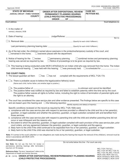 Form JC19 Printable Pdf