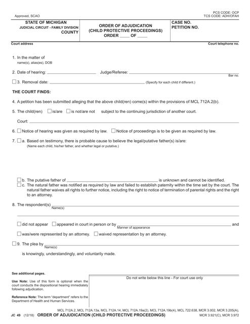Form JC49 Printable Pdf