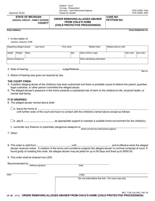 Form JC65 Printable Pdf