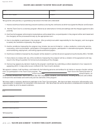 """Form JC78 """"Waiver and Consent to Enter Teen Court (Diversion)"""" - Michigan"""