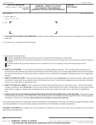 """Form JC20 """"Summons: Order to Appear (Delinquency Proceedings) / (Personal Protection Proceedings)"""" - Michigan"""