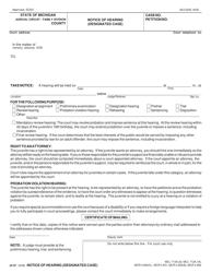 "Form JC67 ""Notice of Hearing (Designated Case)"" - Michigan"