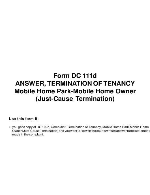 Form DC111D  Printable Pdf