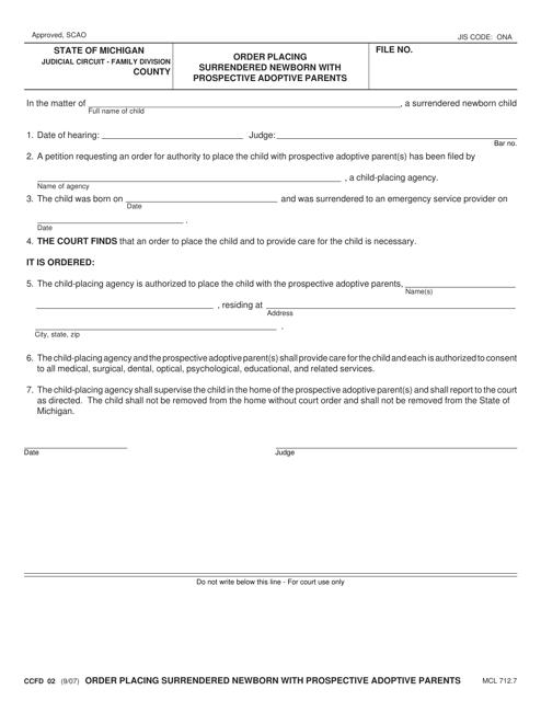 Form CCFD02 Printable Pdf