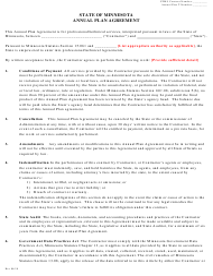 """Annual Plan Agreement"" - Minnesota"