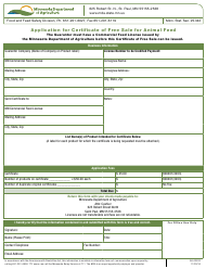 """Form AG-03032 """"Application for Certificate of Free Sale for Animal Feed"""" - Minnesota"""