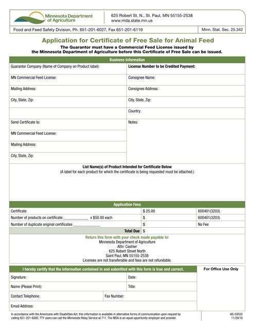 Form AG-03032 Fillable Pdf
