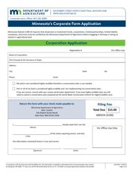 "Form AG-03317 ""Minnesota's Corporate Farm Application - Corporation Application"" - Minnesota"
