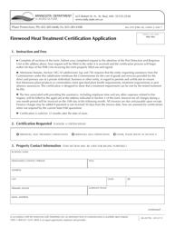 "Form AG-03196 ""Firewood Heat Treatment Certification Application"" - Minnesota"