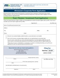 "Form AG-03318 ""Minnesota's Corporate Farm Application - Trust / Pension / Investment Fund Application"" - Minnesota"