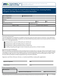 """Form AG-02433 """"Egg Grading and Sales for Small Producers Exempt From Licensing Poultry Slaughter and Sales Direct to Consumers Exemption"""" - Minnesota"""