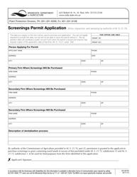 "Form AG-00163 ""Screenings Permit Application"" - Minnesota"