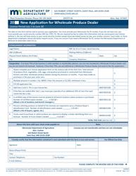 "Form AG00876 ""Application for Wholesale Produce Dealer"" - Minnesota"