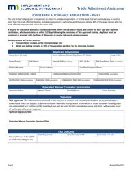 """Job Search Allowance Application Form - Trade Adjustment Assistance"" - Minnesota"