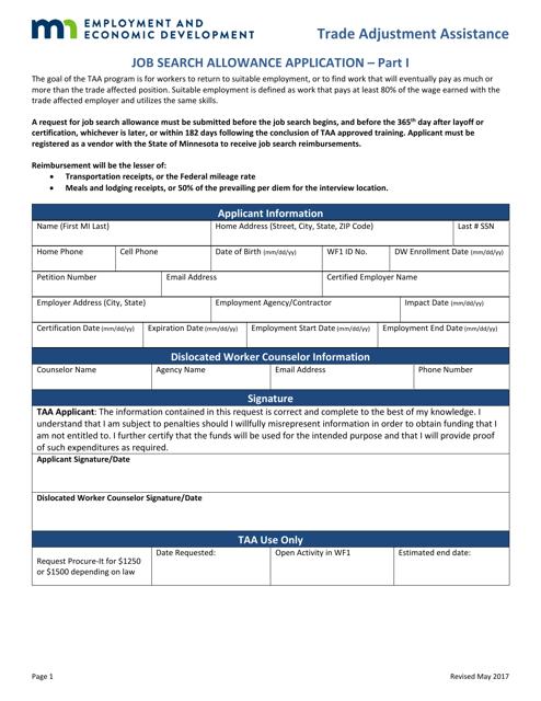 """Job Search Allowance Application Form - Trade Adjustment Assistance"" - Minnesota Download Pdf"