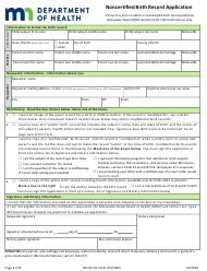 Noncertified Birth Record Application Form - Minnesota