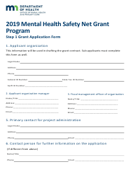 """Grant Application Form - Mental Health Safety Net Grant Program"" - Minnesota, 2019"