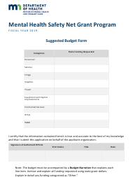 2019 Suggested Budget Form - Mental Health Safety Net Grant Program - Minnesota