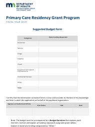 2019 Suggested Budget Form - Primary Care Residency Grant Program - Minnesota
