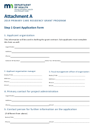 2019 Attachment a - Grant Application Form - Primary Care Residency Grant Program - Minnesota