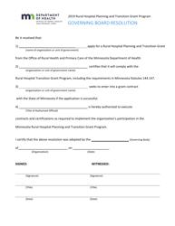 """Governing Board Resolution Form - Rural Hospital Planning and Transition Grant Program"" - Minnesota, 2019"