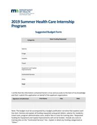 """Suggested Budget Form - Summer Health Care Internship Program"" - Minnesota, 2019"