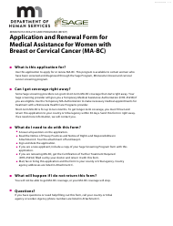 """Form DHS-3525-ENG """"Application and Renewal Form for Medical Assistance for Women With Breast and Cervical Cancer (Ma-Bc)"""" - Minnesota"""