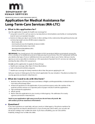 """Form DHS-3531-ENG """"Application for Medical Assistance for Long-Term-Care Services (Ma-Ltc)"""" - Minnesota"""