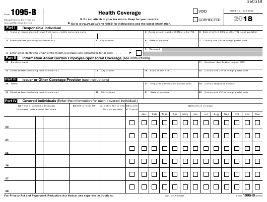IRS Form 1095-B 2018 Fillable Pdf