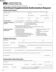 """Form DHS-5849-EN """"Nutritional Supplemental Authorization Request - Program Hh"""" - Minnesota"""