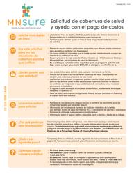 """Formulario DHS-6696-SPA """"Solicitud De Cobertura De Salud Y Ayuda Con El Pago De Costos"""" - Minnesota (Spanish)"""