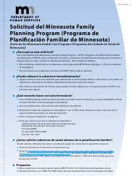 """Formulario DHS-4740-SPA """"Solicitud Del Minnesota Family Planning Program (Programa De Planificacion Familiar De Minnesota)"""" - Minnesota (Spanish)"""