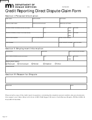"""Form DHS-7656-ENG """"Credit Reporting Direct Dispute-Claim Form"""" - Minnesota"""